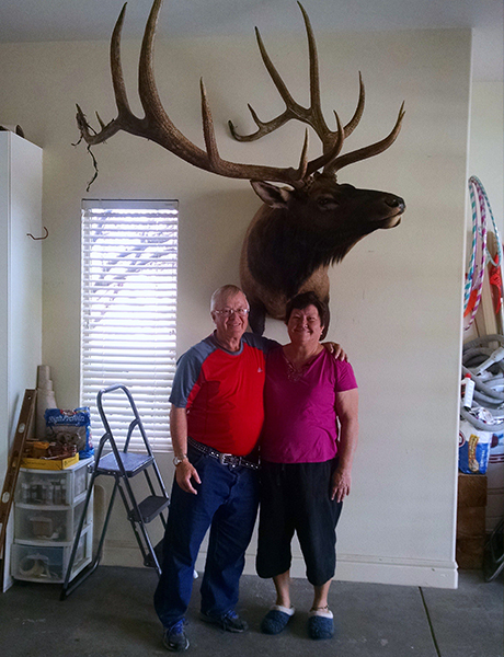 man and woman standing underneath a mounted head